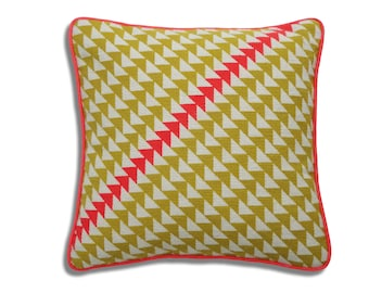 Geometric Triangles contemporary needlepoint kit, yellow and coral colourway