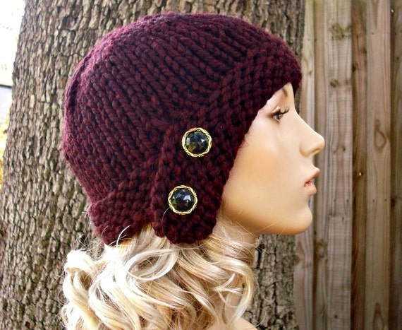 Knit Hat Red Womens Hat - Cloche Hat in Oxblood Wine Red Knit Hat - Red Hat Burgundy Hat Red Beanie Womens Accessories Winter Hat