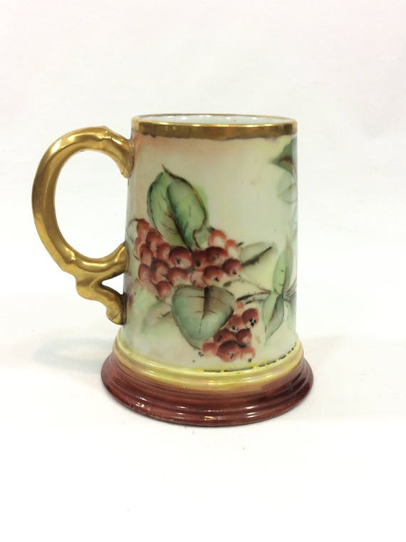 J P Limoges Tankard Mug, Hand Painted Red Berries & Leaves, Gilded Handle and Rims, 1890-1932, Antique Bone China Porcelain
