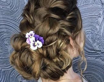 Purple hair piece Purple flower hair pin Bridal hair flower ornament