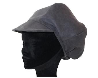 Cap newsboy gray fine velvet fabric faux suede Choker
