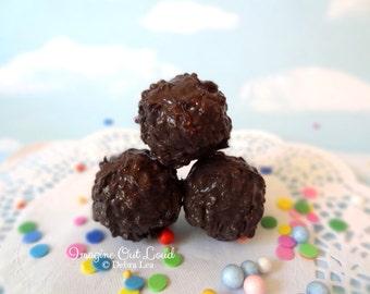 FAUX Fake Dark Chocolate Macadamia Nut Crunch  REALISTIC Kitchen Decor Display