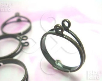 last stock -40% / G112BS / 5Pc / 2Rows x 1+1Loop - Antique Brass Plated Adjustable Finger Rings Findings.