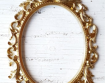 Gold Open Frame Wedding Photo Prop Baroque Frame  Nursery Decor Oval Frame Ornate Frame Paris Apartment Art