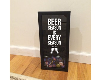"Beer Cap Holder Shadow Box - Beer Season is Every Season - Wall Hanging Bottle Cap Holder - Black Shadow Box (6"" x 14"") - Vinyl Decal Gifts,"