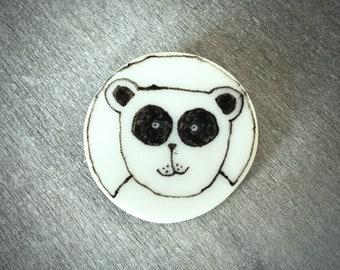 Ceramic panda brooch pin - Doodle ceramic porcelain happy panda pin
