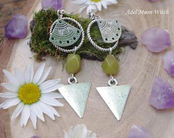 Boho earrings Boho Jewelry metal long earrings natural stone earrings jade earrings Green Jade Earrings Crystal Earrings Gemstone Earrings