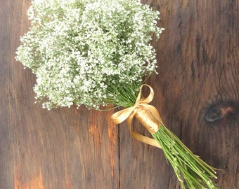 "Simple Dried Baby's Breath Bouquet - Wedding Bouquet, 7-7.5""- Baby's Breath & Customizable with Dried Flowers and Greens"
