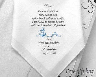 Father In Law Wedding Handkerchief -Custom Wedding Hanky For Father Of Groom-From New Daughter To Dad-Printed-Hanky-Hankie-Free Gift Box