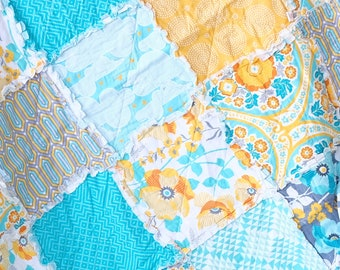 RAG quilt- Ready to ship- Blue rag quilt, Yellow Rag quilt, Cotton anniversary gift, Teal rag quilt, Couch Quilt, picnic blanket