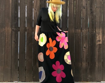 1960s Dress with Pockets- Hippie Clothes- Graphic Flowers- Psychedelic Clothing- 60s Maxi Dress- Bohemian Clothes- XS SMALL MEDIUM