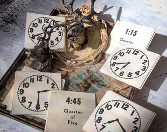 When Learning Was All About Show & Tell Vintage Stock Card Paper Clocks