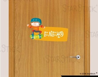 Customized sticker door name skate - Wall Decal Sticker
