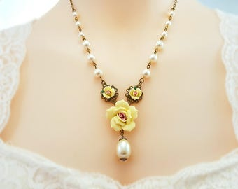 Yellow Rose Necklace - Swarovski Pearl Necklace - Victorian Pearl Teardrop - Yellow Flower - Floral Bridal Jewelry - Yellow Rose Texas N4632