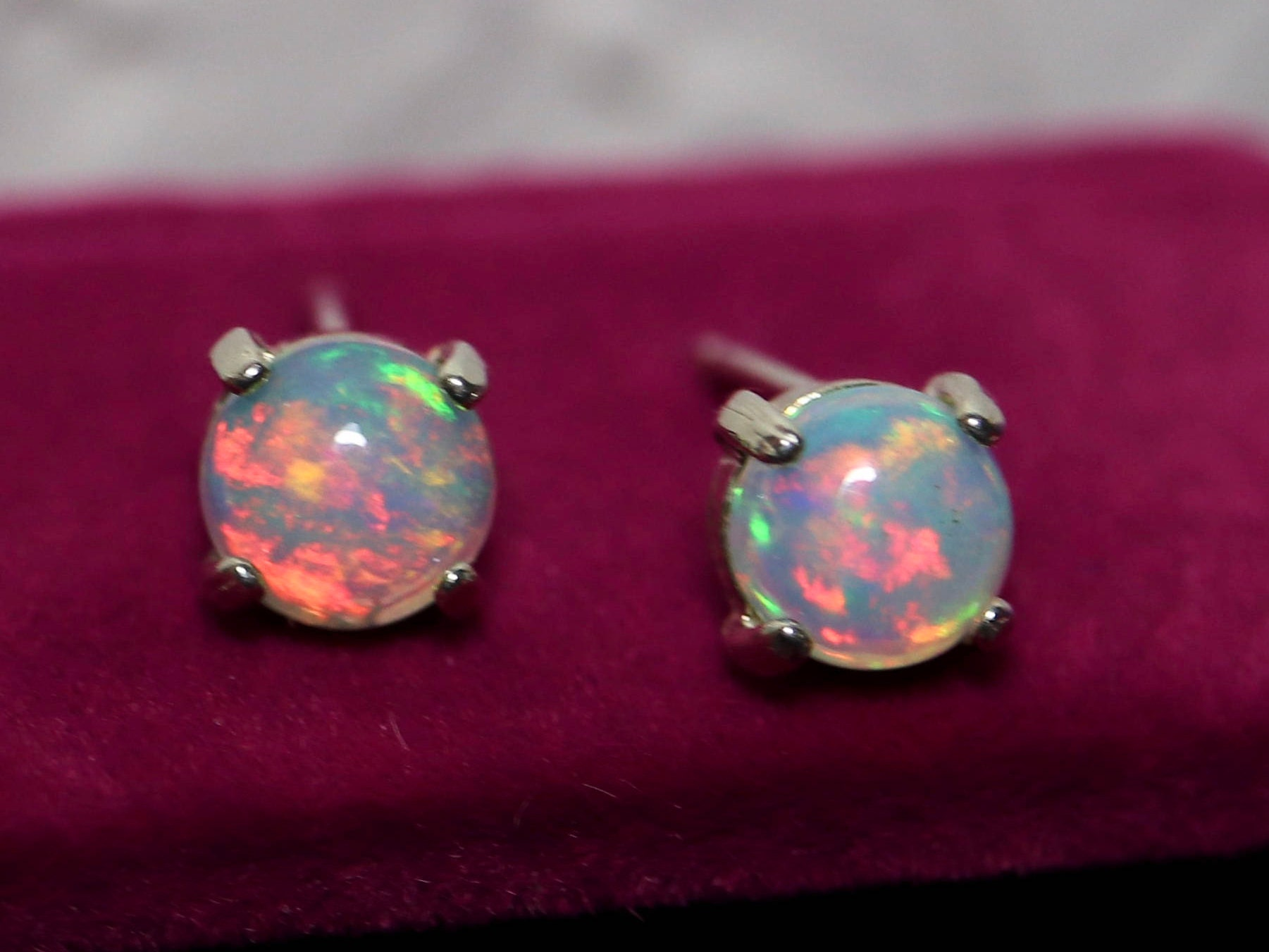 earrings real ruby gold opal stud and