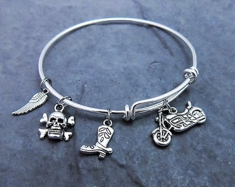 Motorcycle Gifts -  Biker Jewelry - Motorcycle Charm Bracelet  -  Expandable Bangle  - Harley Bracelet - Biker Chick - Skull and Crossbones