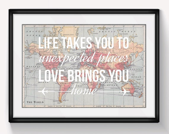 World Map Poster World Map Print Love Quote Map Of The