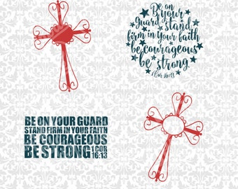 Cross Set and 1 Corinthians 16:13 SVG STUDIO Ai EPS Scalable Vector Instant Download Commercial Use Cutting File Cricut Silhouette