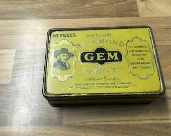 Vintage Tin Medium Richmond Gem Cigarettes Hinged Yellow Tin Tobacciana Collectors Tin