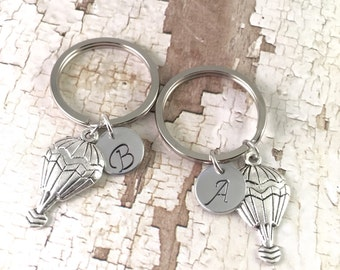 Best friend keychains, best friends initials keychain, hot air balloon keychains, personalized initial keychains, long distance