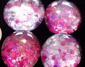 Set of 4 Super strong Glitter magnets, Light and Dark Pink sequin magnets, refrigerator magnets, fridge magnets, kitchen decor