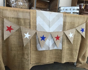 STARS Burlap Banner,Triangle Flags, Bunting, Garland, Pennant, Photo Prop, Weddings, Home Decor, Patriotic, Red, White and Blue, 4th of July