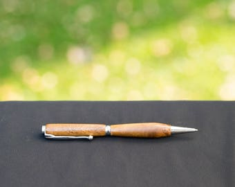 Custom Hand-Turned Mango Wood Funline Twist Pen (chrome finish)