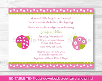 Cute Pink Ladybug Baby Shower Invitation / Ladybug Baby Shower Invite / Pink & Green / Baby Girl Shower / INSTANT DOWNLOAD Editable PDF A376