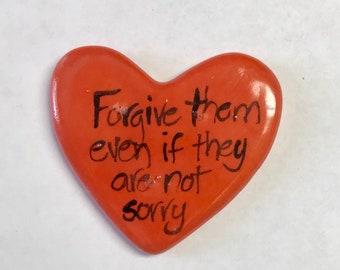 Forgive Them special edition Ceramic  Pocket Prayer heart with cross