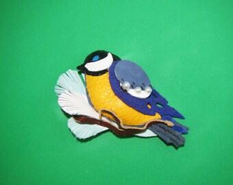 Blue tit brooch leather, bluebird brooch, birdie brooch, scarf brooch birdie, Brooch Bird, Brooch bluebird, Mother's day gift, coat brooch