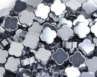 """6mm hematite carved flower beads 15.5"""" strand silver color 35529"""
