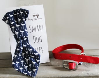 Flamingo handmade slip on dog tie - choose from pink or blue