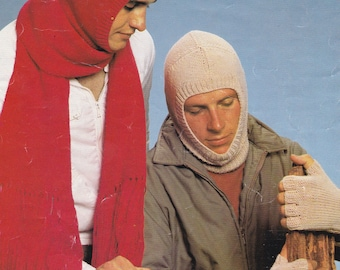 PDF balaclava cold weather hood vintage knitting pattern men's balaclava fingerless gloves pdf INSTANT download pattern only