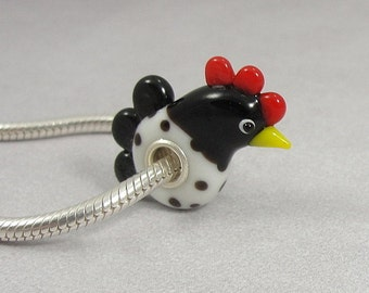 Rooster Large Hole Lampwork Glass Bead - 925 Sterling Silver European Bead Charm