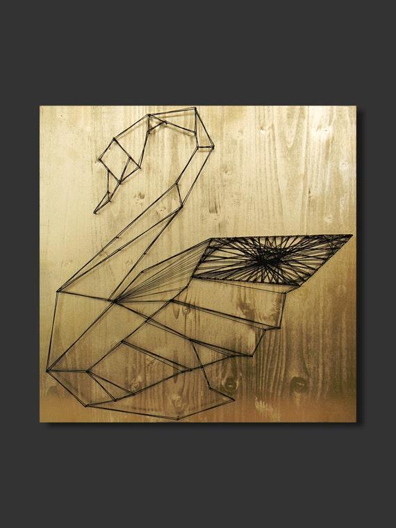 String Art Black Swan art gold wall art decor geometric wall