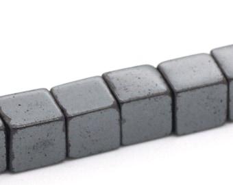 30 square 6 X 6 mm black hematite beads