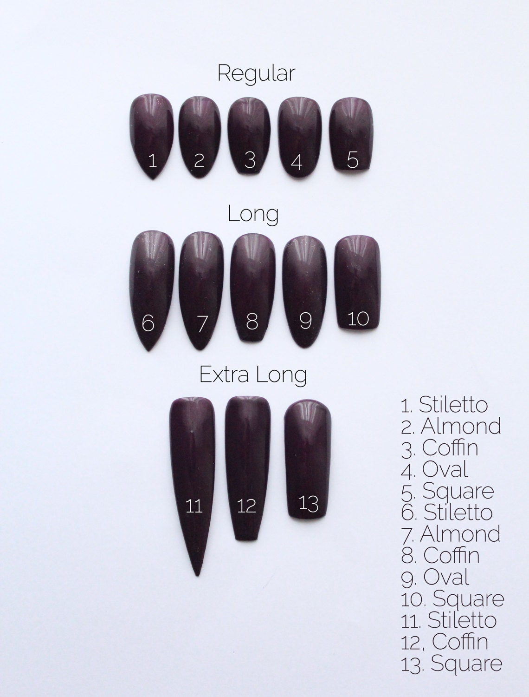 Press on Nails Sizing Sample | Size Guide | Fake Nails | Custom ...