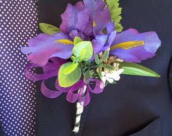 Purple boutonniere,  purple wedding,  Purple Prom,  purple iris boutonniere