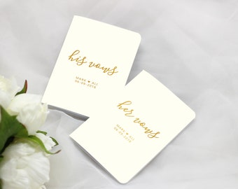 Wedding Vow Books Ivory and Gold Foil, Personalized Wedding Vow Book, Color Choices Available, Set of 2 Books, VB014