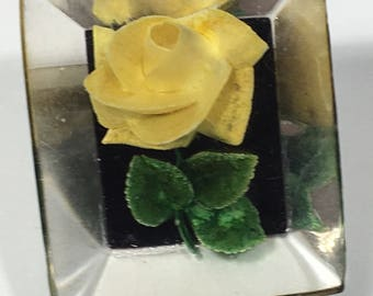 Vintage Lucite Yellow Rose Brooch