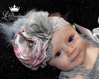 Pink and Gray Satin Flower Headband, Photo Prop, Couture Headband, Infant Headband, Toddler Headband