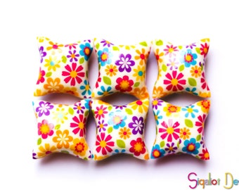 Polymer clay pillow beads - millefiori  colorful beads - spring flower beads 20mm (6)