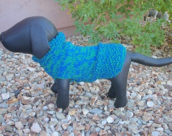 Blue Green Hand Knit Wool Dog Sweater Medium.