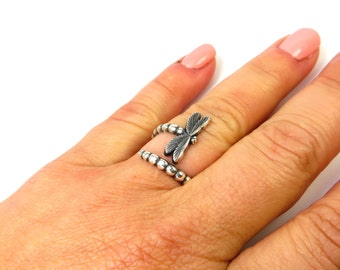 New Dragonfly Bypass Ring Adjustable Dragonfly Ring Sterling Silver Ox Finish