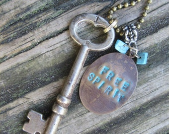 Skeleton Key Charm Necklace, * On SALE ! * Authentic Patina, Free Spirit Word Saying Hand Stamped Turquoise, Boho, Hippie, Under 20 Dollars
