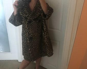 Vintage 60's Leopard Faux Fur Coat szL/XL
