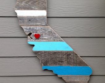 California Wall Art, Rustic California Board, Wooden California State Cutout, State Signs, State Sign, California Decor, California Gift