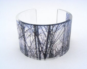 Perspex Cuff, Winter Woodland Trees, Handmade wide cuff bangle
