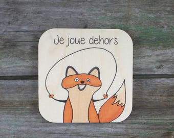"""Symbol """"I play outside"""", wooden - Daily Routine - 3 to 5 years"""