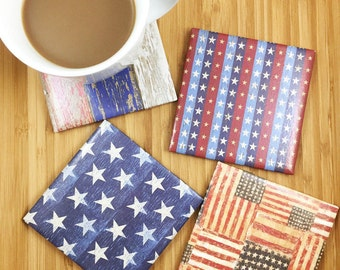 4 American Flag Coasters, Red White and Blue, Father's Day, USA Coasters, 4th of July, Gifts for Him, Tile Coasters, Gift for Dad